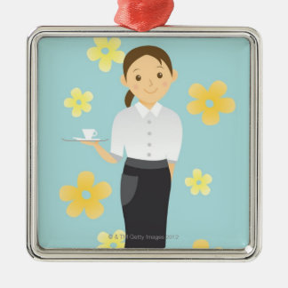 Waitress Square Metal Christmas Ornament