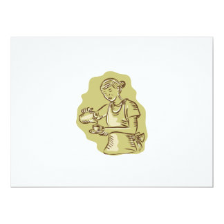 Waitress Pouring Tea Cup Vintage Etching 6.5x8.75 Paper Invitation Card