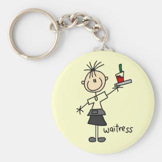 Waitress Stick Figure Basic Round Button Keychain