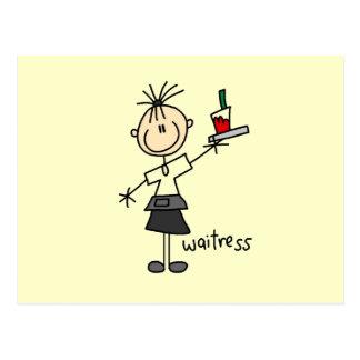 Waitress Stick Figure Postcard