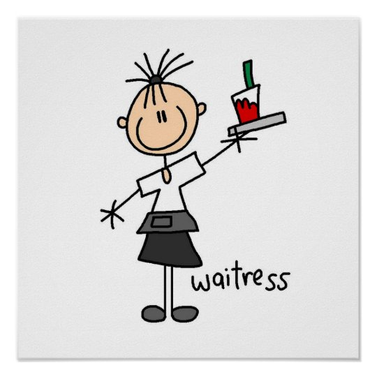 Waitress Stick Figure Poster