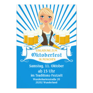 Waitress with Stein Oktoberfest Invitation