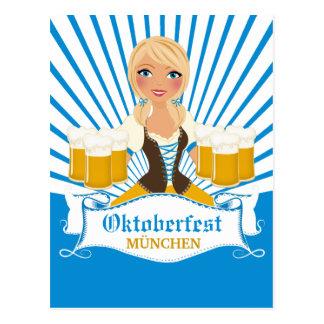 Waitress with Stein Oktoberfest Postcard