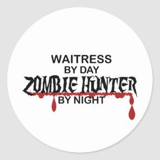 Waitress Zombie Hunter Classic Round Sticker