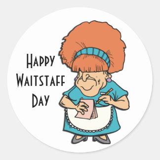 Waitstaff día 21 de mayo feliz pegatina redonda