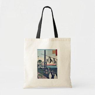Wakasa secó las platijas por Utagawa, Hiroshige Bolsa Tela Barata
