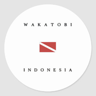 Wakatobi Indonesia Scuba Dive Flag Classic Round Sticker