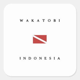 Wakatobi Indonesia Scuba Dive Flag Square Sticker