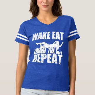 WAKE EAT crowd surf REPEAT (wht) T-shirt