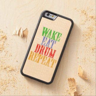 Wake Eat DRUM Repeat Carved Maple iPhone 6 Bumper Case