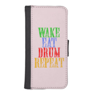 Wake Eat DRUM Repeat iPhone SE/5/5s Wallet Case