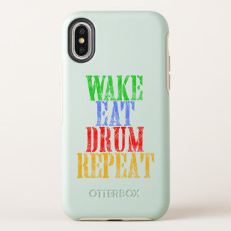 Wake Eat DRUM Repeat OtterBox Symmetry iPhone X Case