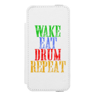 Wake Eat DRUM Repeat Wallet Case For iPhone SE/5/5s