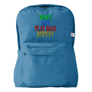 Wake Eat PLAY BASS Repeat American Apparel™ Backpack