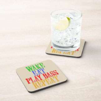Wake Eat PLAY BASS Repeat Drink Coaster