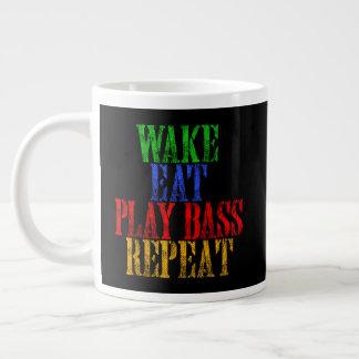 Wake Eat PLAY BASS Repeat Giant Coffee Mug