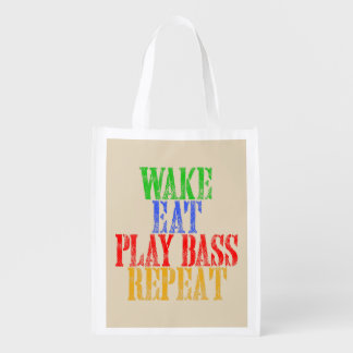 Wake Eat PLAY BASS Repeat Grocery Bag