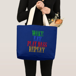 Wake Eat PLAY BASS Repeat Large Tote Bag