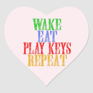 Wake Eat PLAY KEYS Repeat Heart Sticker