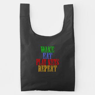 Wake Eat PLAY KEYS Repeat Reusable Bag