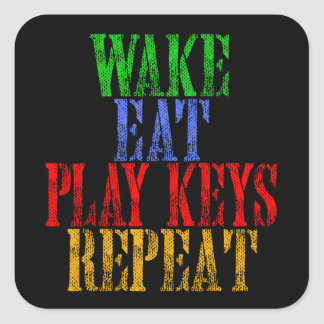 Wake Eat PLAY KEYS Repeat Square Sticker