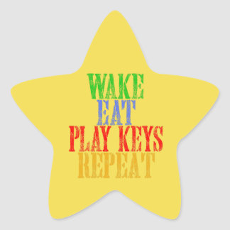 Wake Eat PLAY KEYS Repeat Star Sticker