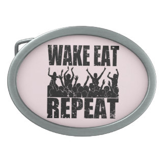 WAKE EAT ROCK REPEAT #2 (blk) Oval Belt Buckle