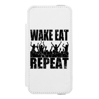 WAKE EAT ROCK REPEAT #2 (blk) Wallet Case For iPhone SE/5/5s