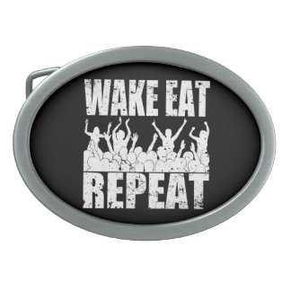 WAKE EAT ROCK REPEAT #2 (wht) Belt Buckle