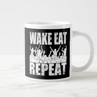 WAKE EAT ROCK REPEAT #2 (wht) Large Coffee Mug