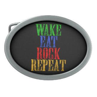 WAKE EAT ROCK REPEAT #3 BELT BUCKLE