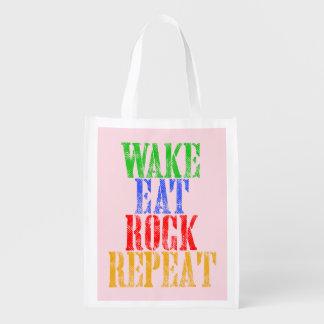 WAKE EAT ROCK REPEAT #3 GROCERY BAG