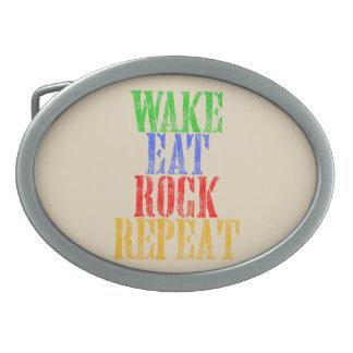WAKE EAT ROCK REPEAT #3 OVAL BELT BUCKLE