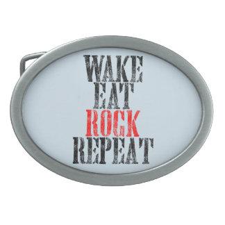 WAKE EAT ROCK REPEAT (blk) Belt Buckle