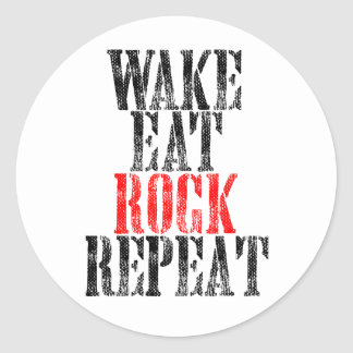 WAKE EAT ROCK REPEAT (blk) Classic Round Sticker