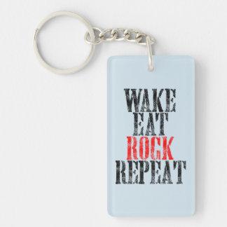 WAKE EAT ROCK REPEAT (blk) Keychain