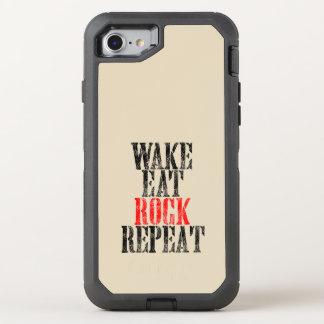 WAKE EAT ROCK REPEAT (blk) OtterBox Defender iPhone 7 Case