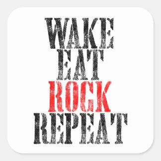 WAKE EAT ROCK REPEAT (blk) Square Sticker