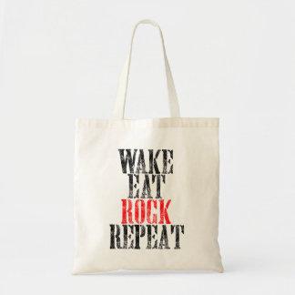 WAKE EAT ROCK REPEAT (blk) Tote Bag