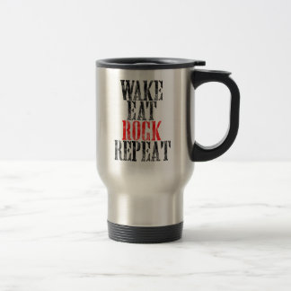 WAKE EAT ROCK REPEAT (blk) Travel Mug