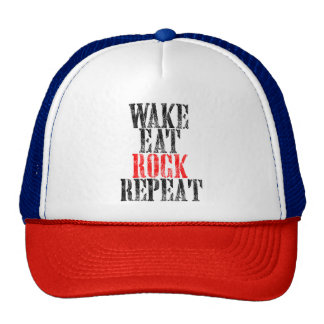 WAKE EAT ROCK REPEAT (blk) Trucker Hat