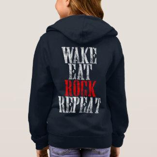 WAKE EAT ROCK REPEAT (wht) Hoodie