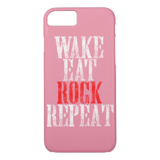 WAKE EAT ROCK REPEAT (wht) iPhone 7 Case