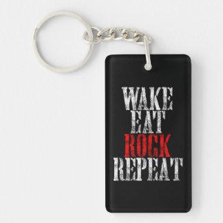 WAKE EAT ROCK REPEAT (wht) Keychain