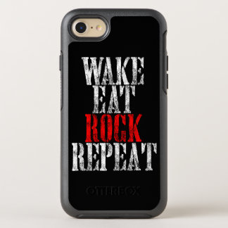 WAKE EAT ROCK REPEAT (wht) OtterBox Symmetry iPhone 7 Case
