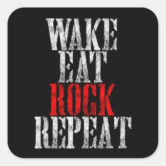 WAKE EAT ROCK REPEAT (wht) Square Sticker