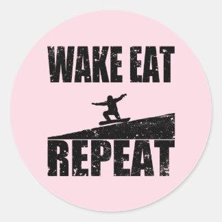 Wake Eat Snowboard Repeat #2 (blk) Classic Round Sticker