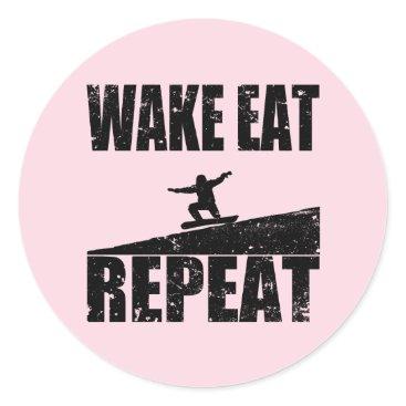 McTiffany Tiffany Aqua Wake Eat Snowboard Repeat #2 (blk) Classic Round Sticker