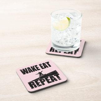 Wake Eat Snowboard Repeat #2 (blk) Coaster