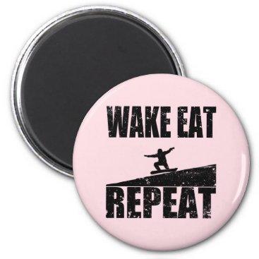 McTiffany Tiffany Aqua Wake Eat Snowboard Repeat #2 (blk) Magnet